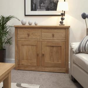 Homestyle Torino Solid Oak Medium Sideboard 2 Drawer 2 Door | Fully Assembled