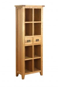 Besp-Oak Vancouver Oak 2 Drawer Narrow Bookcase | Fully Assembled