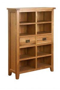 Besp-Oak Vancouver Oak 2 Drawer Wide Bookcase | Fully Assembled