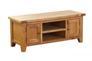 Besp-Oak Vancouver Oak 2 Door 1 Shelf TV Unit | Fully Assembled