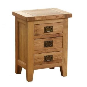 Besp-Oak Vancouver Oak 3 Drawer Bedside/Lamp Table | Fully Assembled