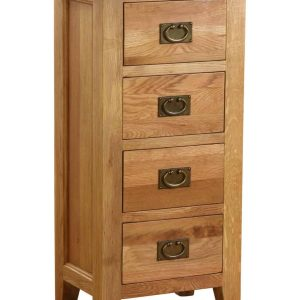 Classic Lily Painted White 4 Drawer Tall Chest of Drawers | Fully Assembled