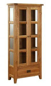 Besp-Oak Vancouver Oak VSP 2 Door 1 Drawer Glazed Display Unit | Fully Assembled
