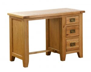 Besp-Oak Vancouver Oak Single Pedestal Computer Desk | Fully Assembled