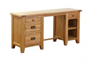Besp-Oak Vancouver Oak Double Pedestal Desk | Fully Assembled