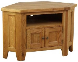 Besp-Oak Vancouver Oak Corner TV Unit (90 degree) | Fully Assembled