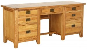 Besp-Oak Vancouver Oak Twin Pedestal Desk