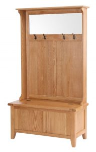 Besp-Oak Vancouver Oak Hall Storage Bench with Coat Rack & Mirror | Fully Assembled