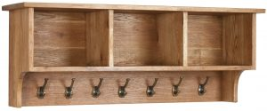 Besp-Oak Vancouver Oak Wall Shelf with Coat Rack   Fully Assembled