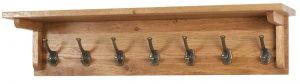 Besp-Oak Vancouver Oak 7 Hook Coat Rack with Shelf (90cm) | Fully Assembled