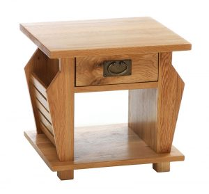Besp-Oak Vancouver Oak Magazine Rack Lamp Table with 1 Drawer   Fully Assembled