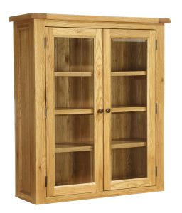 Besp-Oak Vancouver Oak 2 Door Glazed Small Dresser (Top Only) | Fully Assembled