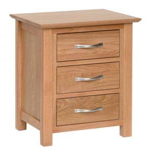 Devonshire New Oak 3 Drawer Bedside Cabinet | Fully Assembled