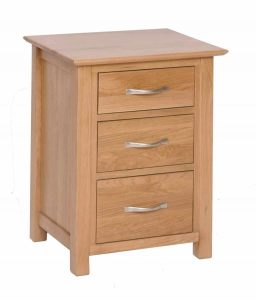 Devonshire New Oak 3 Drawer Tall Bedside Cabinet |Fully Assembled