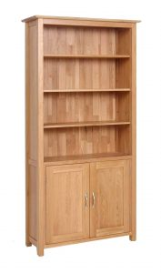 Devonshire New Oak Bookcase with 4 Shelves & Cupboard | Fully Assembled
