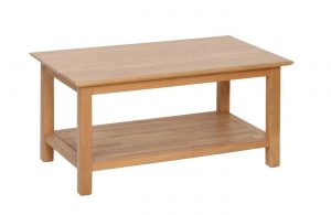 Devonshire New Oak Rectangle Coffee Table with Shelf (89.5cm) | Fully Assembled
