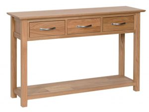Devonshire New Oak Console Table with 3 Drawers & Shelf | Fully Assembled