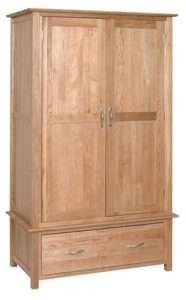 Devonshire New Oak Gents Double Wardrobe With 1 Drawer & 2 Doors