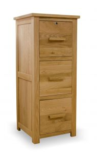 Homestyle Opus Solid Oak 3 Drawer Filing Cabinet | Fully Assembled