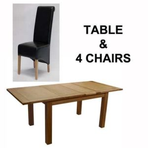 Homestyle Opus Solid Oak Extending Table & 4 Richmond Leather Chairs