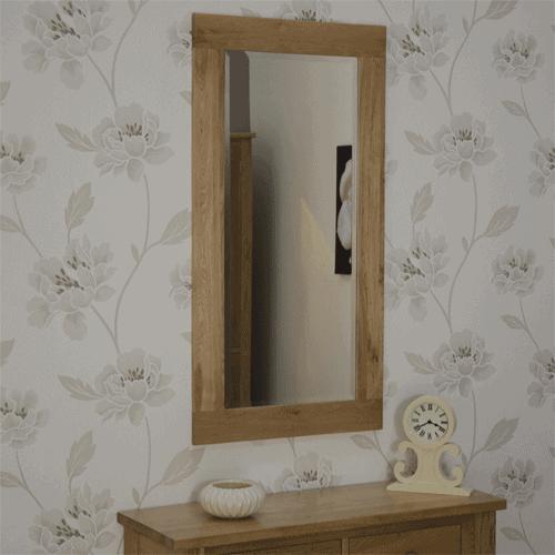 Homestyle Opus Solid Oak Large Wall Mirror 115cm x 60cm
