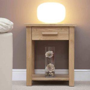Homestyle Opus Solid Oak 1 Drawer Sofa/Lamp Table with Shelf | Fully Assembled