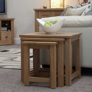 Homestyle Opus Solid Oak Triple Nest Of Tables | Fully Assembled