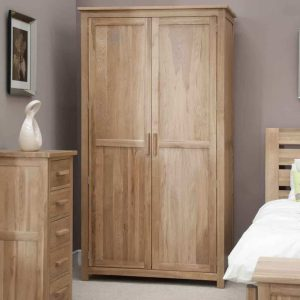 Homestyle Opus Solid Oak 2 Door Ladies Wardrobe