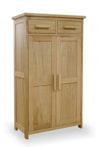 Homestyle Opus Solid Oak 2 Drawer 2 Door Shoe Cupboard | Fully Assembled