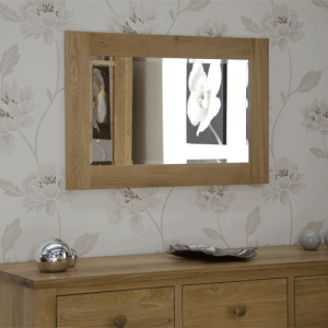 Homestyle Opus Solid Oak Small Wall Mirror 90cm x 60cm