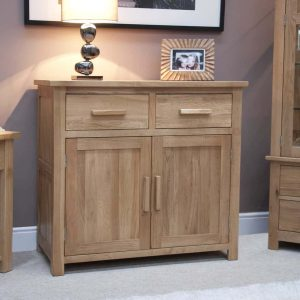 Homestyle Opus Solid Oak 2 Drawer 2 Door Small Sideboard | Fully Assembled