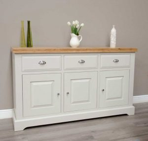 Deluxe Soft Grey With Oak Top 3 Door & 3 Drawer Large Sideboard | Fully Assembled