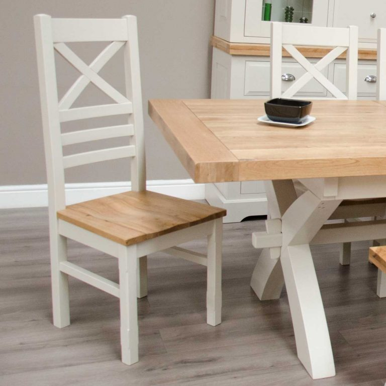 Deluxe Soft Grey With Oak Top Cross Back Dining Chair (Pair)  | Fully Assembled
