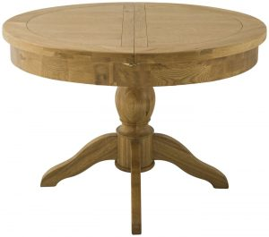 Classic Portland Oak Grand Round Butterfly Extending Dining Table