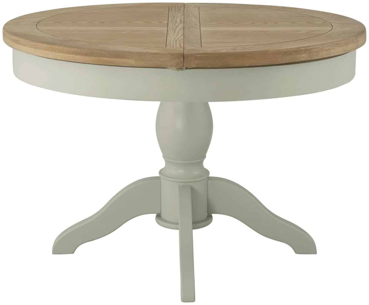 Classic Portland Painted Stone Grand Round Butterfly Extending Dining Table