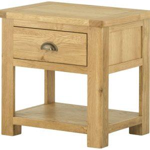 Devonshire Burford Oak Lamp Table with Shelf | Fully Assembled