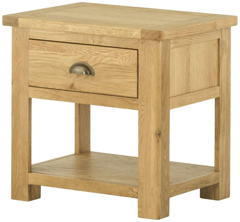 Classic Portland Oak Lamp Table with 1 Drawer | Fully Assembled