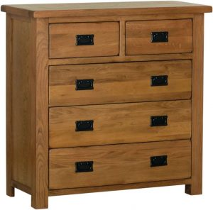 Devonshire Rustic Oak 2 over 3 Drawer Chest | Fully Assembled