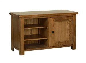 Devonshire Rustic Oak Standard TV Unit WIth Door & Shelves | Fully Assembled