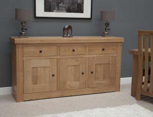 Homestyle Bordeaux Oak 3 Door 3 Drawer Sideboard | Fully Assembled