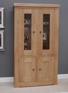 Homestyle Bordeaux Oak Glass Cabinet With Light | Fully Assembled