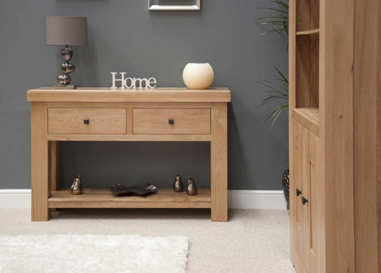 Homestyle Bordeaux Oak 2 Drawer Console Table   Fully Assembled