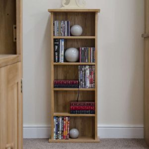 Homestyle Opus Solid Oak CD/DVD Tower | Fully Assembled