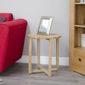 Homestyle Opus Solid Oak Round Lamp Table | Fully Assembled