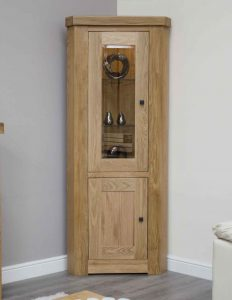 Homestyle Bordeaux Oak Corner Display Unit With Light | Fully Assembled