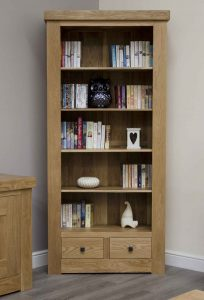 Homestyle Bordeaux Oak Large Bookcase with 2 Drawers & 4 Shelves | Fully Assembled