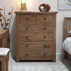 Original Rustic Solid Oak 2 Over 4 Chest