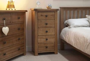 Original Rustic Solid Oak 5 Drawer Narrow Chest