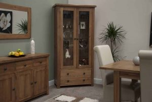 Original Rustic Solid Oak Glass Display Cabinet