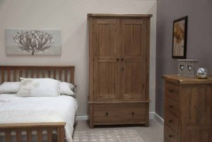 Original Rustic Solid Oak Gents Wardrobe